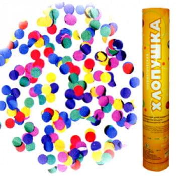 Пневмохлопушка 30 см Металлизированные круги разноцветные