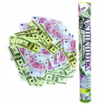 Пневмохлопушка 40 см Доллары и Евро