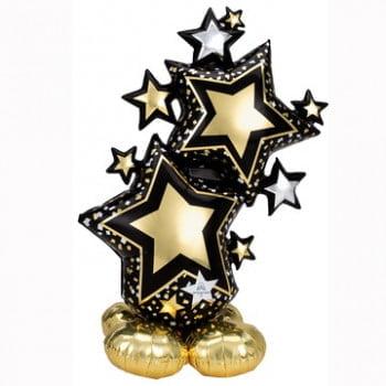 Звезды Черные Золотые ходячая фигура (149 см)