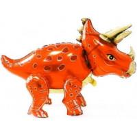 Динозавр Трицератопс оранжевый ходячая фигура 91 см