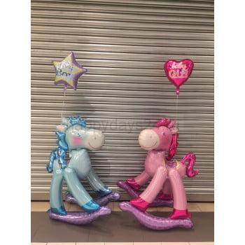 Лошадка качалка голубая или розовая