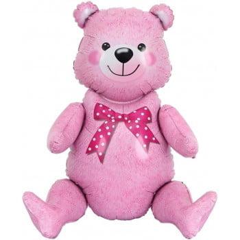 Шар Сидячий мишка Розовый 81 см