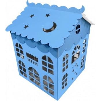 Коробка для воздушных шаров Домик, Голубой, 70 см
