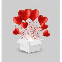 Шары в коробке Сердца