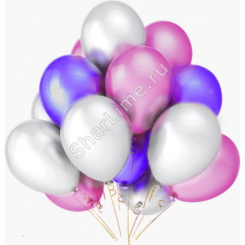 Шарики белые розовые фиолетовые матовые