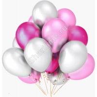 Шарики белые розовые фукси матовые