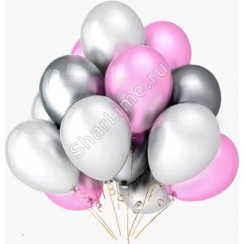 Шарики белые розовые серебряные