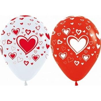 Воздушные шарики с сердцами белые, красные