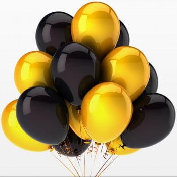 Воздушные шары черные золотые