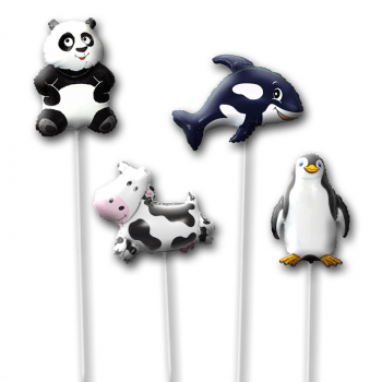 Шары на палочке набор Панда и Пингвин