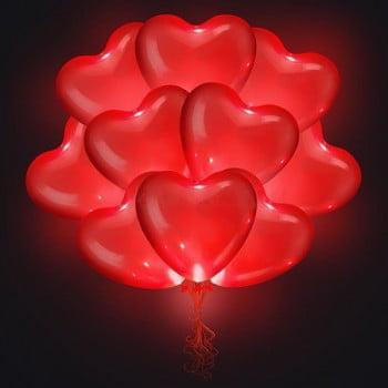 Светящиеся шары сердца красные