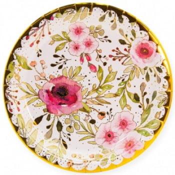 Тарелки 23 см Акварельные цветы 6 шт.