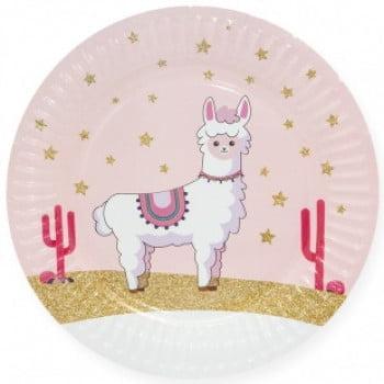 Тарелки 23 см Лама Альпака, Розовый, 6 шт.