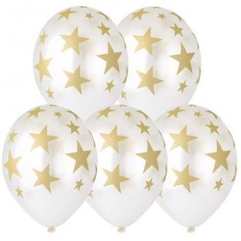 Шарики Звёзды золото (белый металлик)