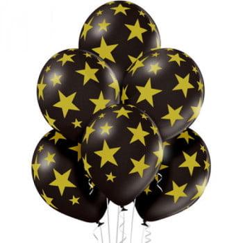 Шарики Звёзды золото (черный металлик)