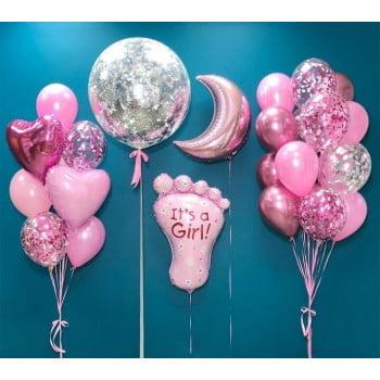 Набор шаров для девочки Шар большой, месяц, ножка (вариант для мальчика)